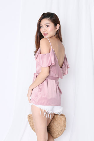 SHAS COLD SHOULDER DRAPE TOP IN BABY PINK