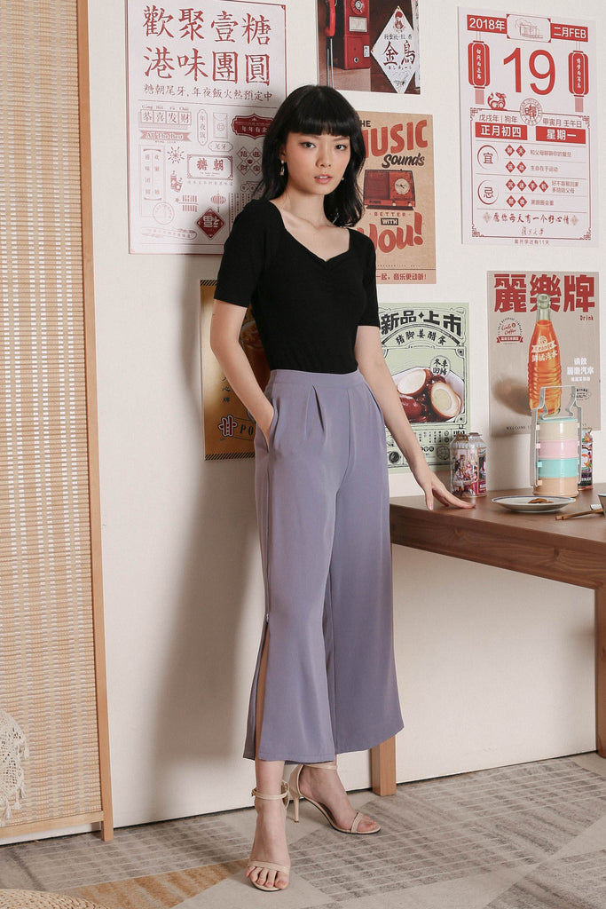 *TPZ* CARLA SIDE ZIP PANTS IN BLUISH PURPLE