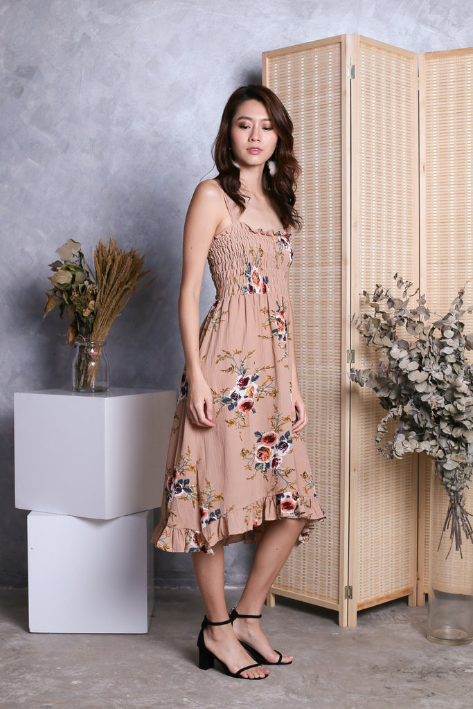 AURA SMOCKED FLORAL DRESS IN TAUPE - TOPAZETTE