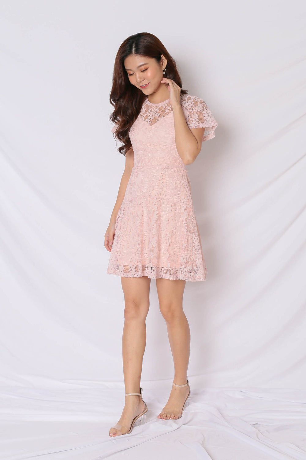 *TPZ* (PREMIUM) ALYTON LACE DRESS IN DUSTY PINK