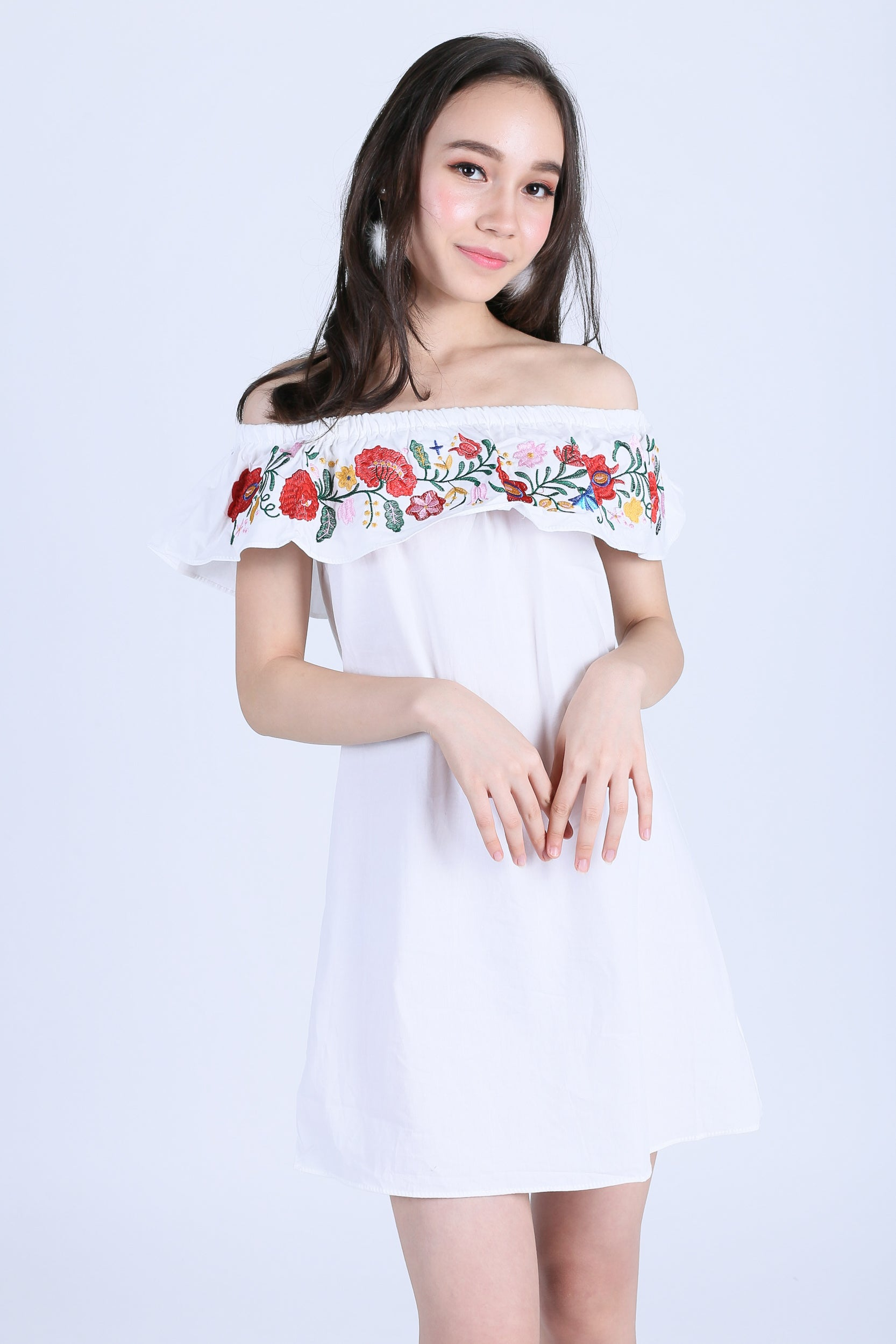 ADLEY EMBROIDERY DRESS IN WHITE