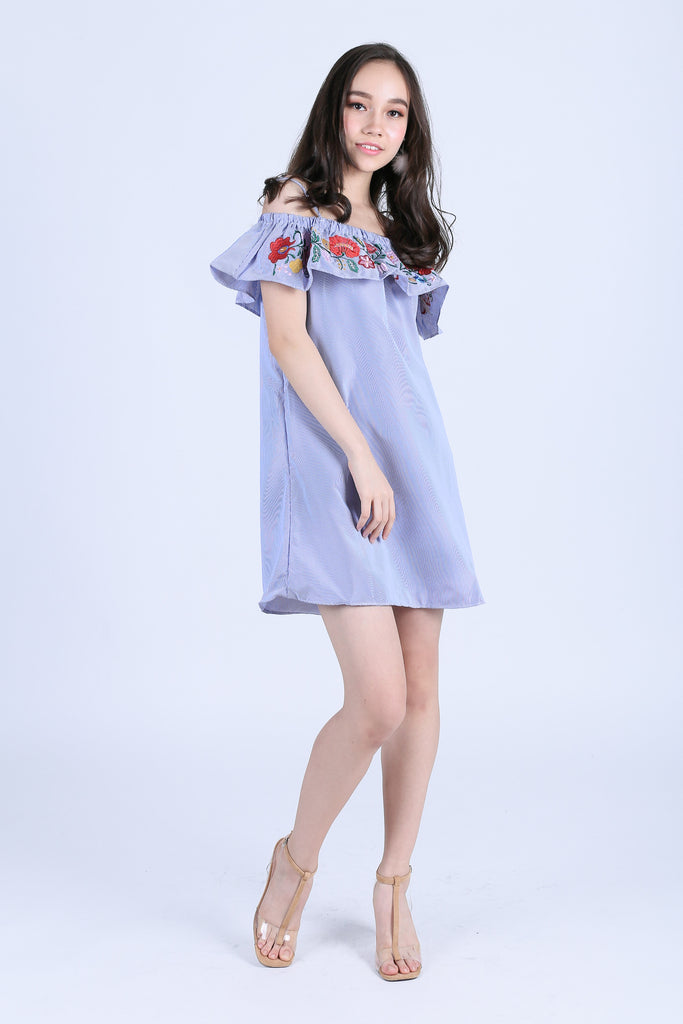 ADLEY EMBROIDERY DRESS IN BLUE STRIPES - TOPAZETTE