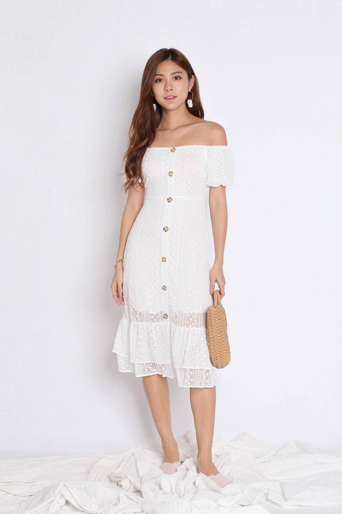 *TPZ* (PREMIUM) YOLA ORGANZA LACE BUTTON DRESS IN WHITE - TOPAZETTE