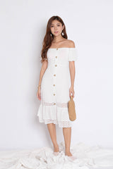 *TPZ* (PREMIUM) YOLA ORGANZA LACE BUTTON DRESS IN WHITE
