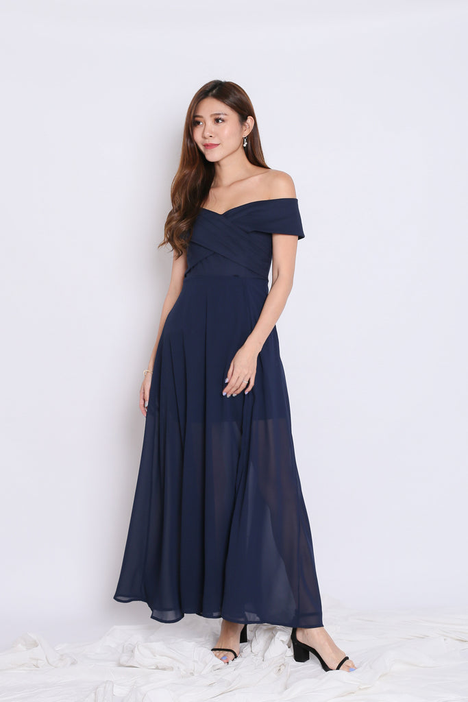 *TPZ* (PREMIUM) EDITH CROSSOVER MAXI IN NAVY - TOPAZETTE