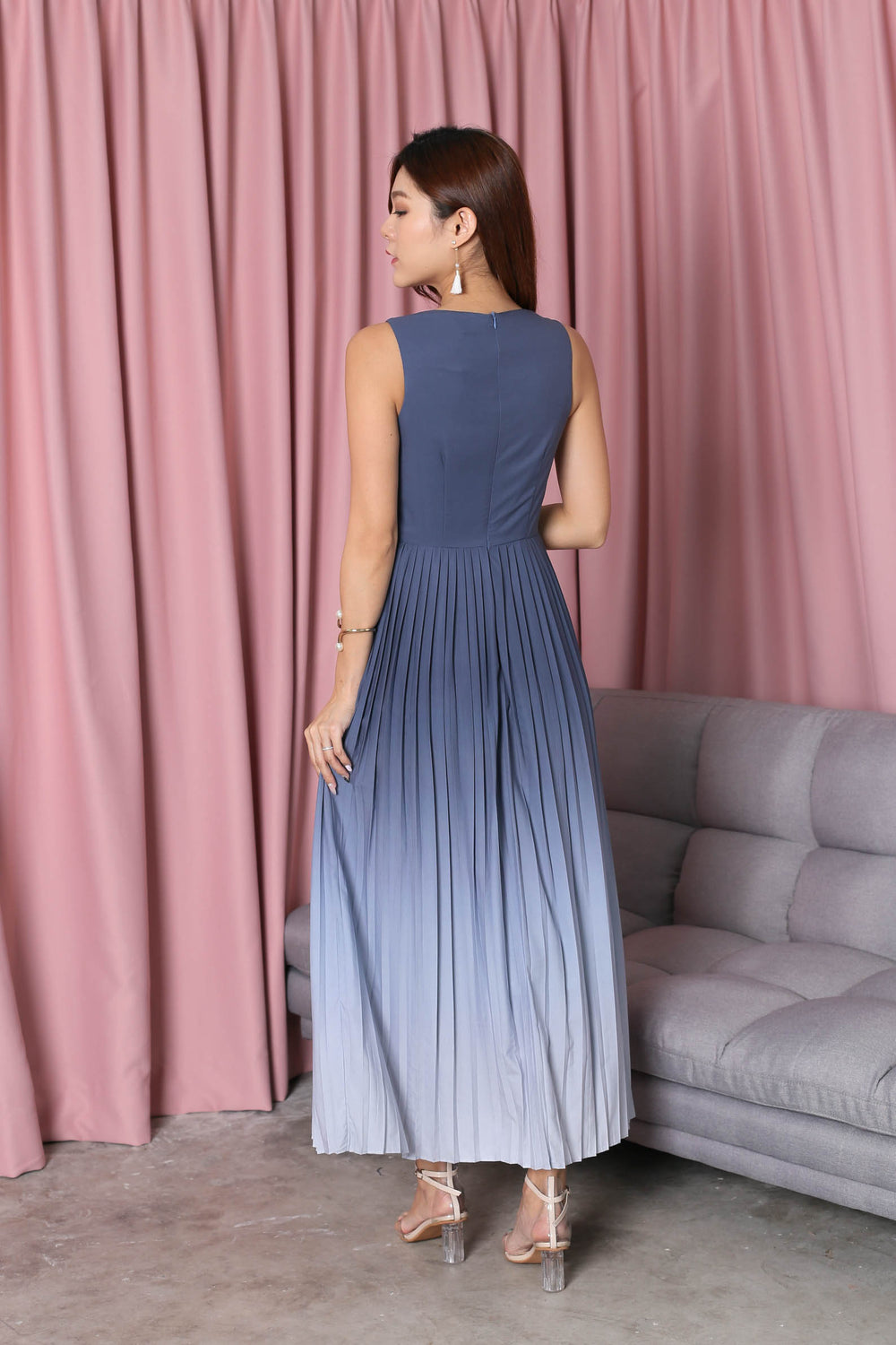 *TPZ* (PREMIUM) ESTELLA PLEATED OMBRE MAXI (ASH BLUE/ GREY)