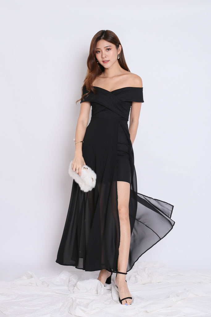 *TPZ* (PREMIUM) EDITH CROSSOVER MAXI IN BLACK - TOPAZETTE