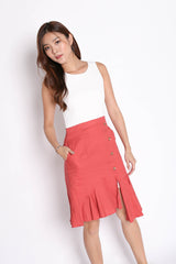 (PREMIUM) OASI LINEN COLOURBLOCK RUFFLES DRESS (WHITE/ CORAL)