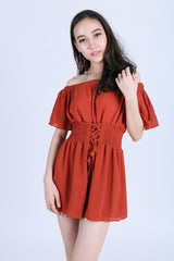 *RESTOCKED* AXIX CHIFFON ROMPER IN RUST