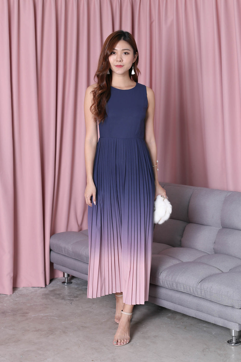 *TPZ* (PREMIUM) ESTELLA PLEATED OMBRE MAXI (NAVY/ PINK)