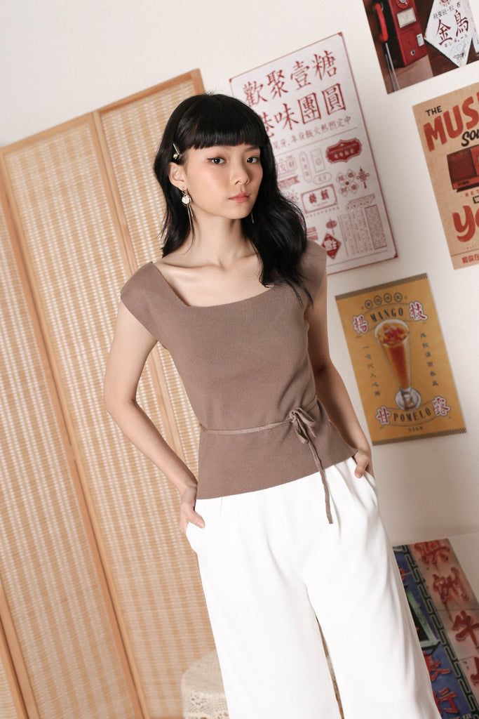 UNA TIE STRING KNIT TOP IN COCOA