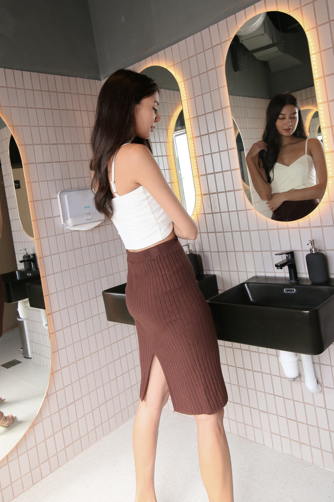 GAIL KNIT SKIRT IN COCOA