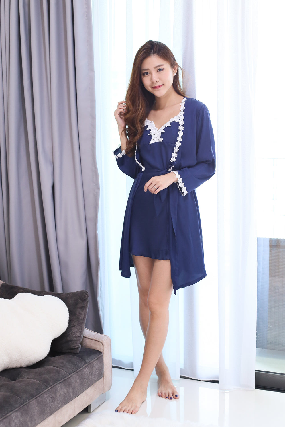 *RESTOCKED* SATIN CROCHET NIGHT GOWN + ROBE SET IN MIDNIGHT BLUE