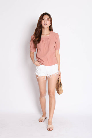 LINEN BASIC RIBBON BACK TOP IN DUSTY PINK