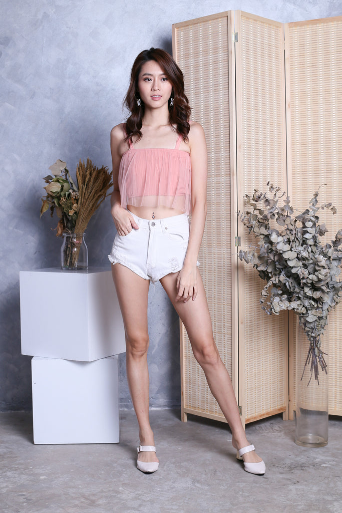 TIA TULLE CROP TOP IN DUSTY PINK - TOPAZETTE