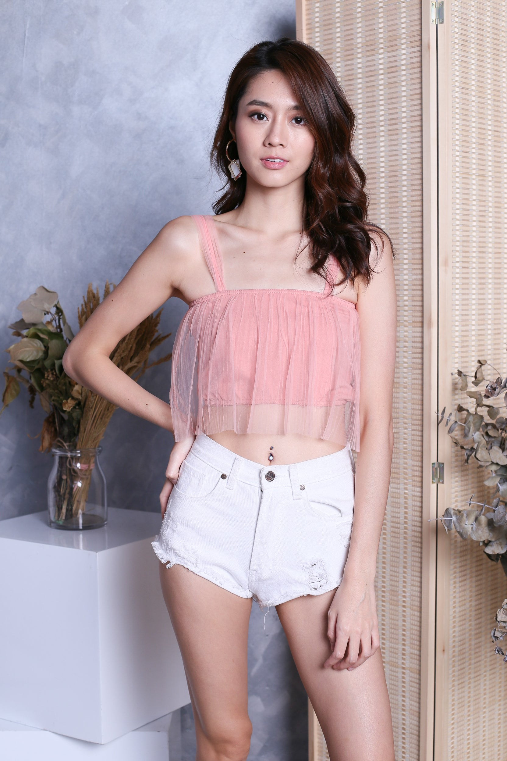 TIA TULLE CROP TOP IN DUSTY PINK
