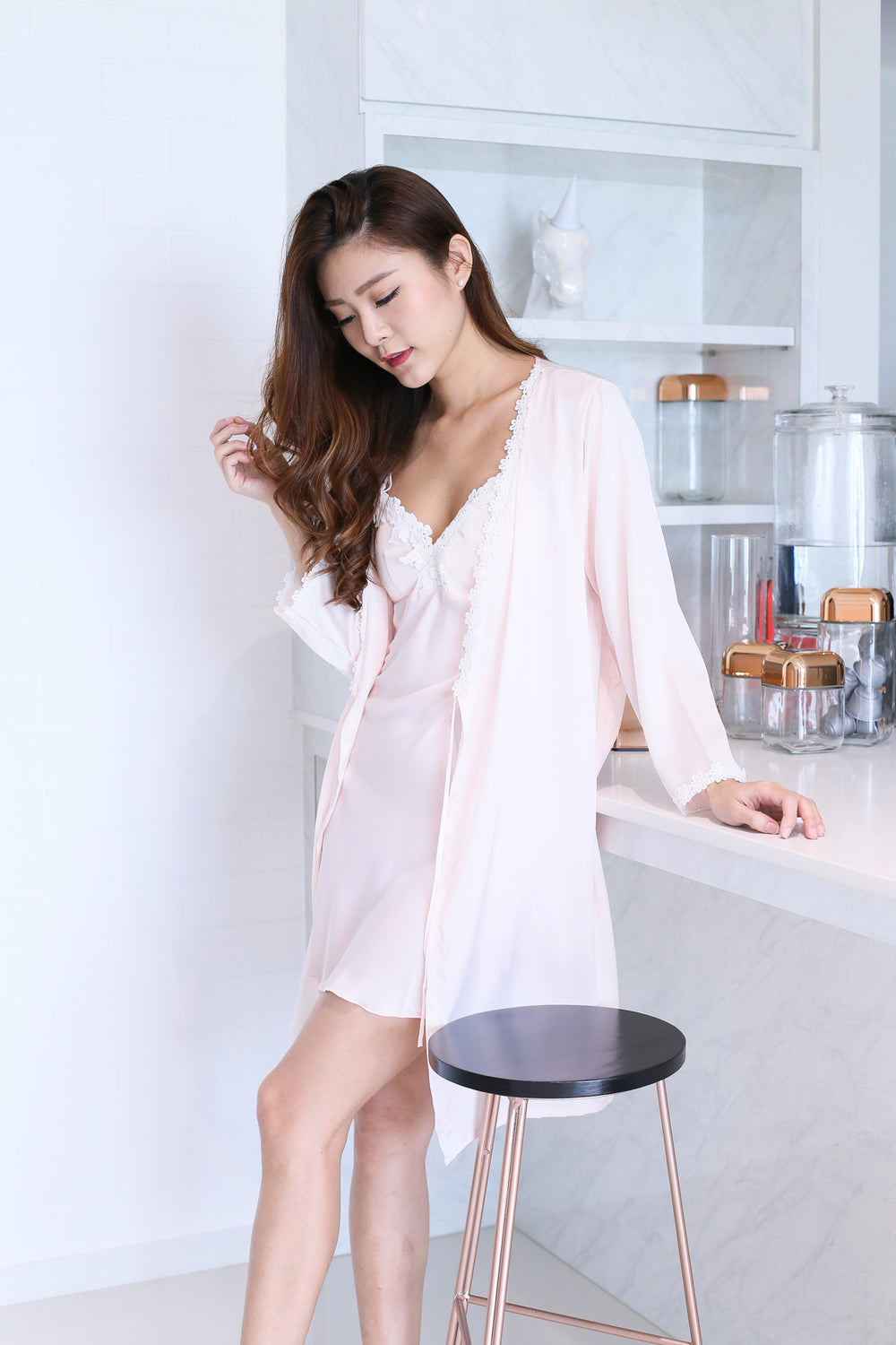 *RESTOCKED* SATIN CROCHET NIGHT GOWN + ROBE SET IN DUSTY PINK