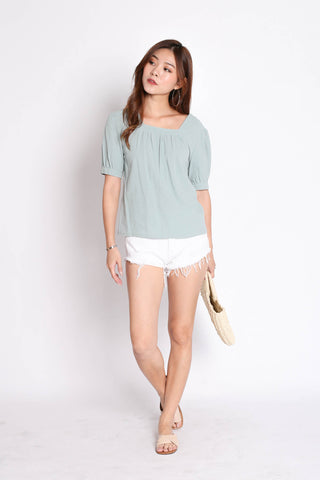 LINEN BASIC RIBBON BACK TOP IN MINT