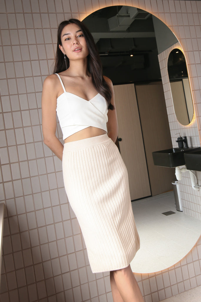GAIL KNIT SKIRT IN ECRU