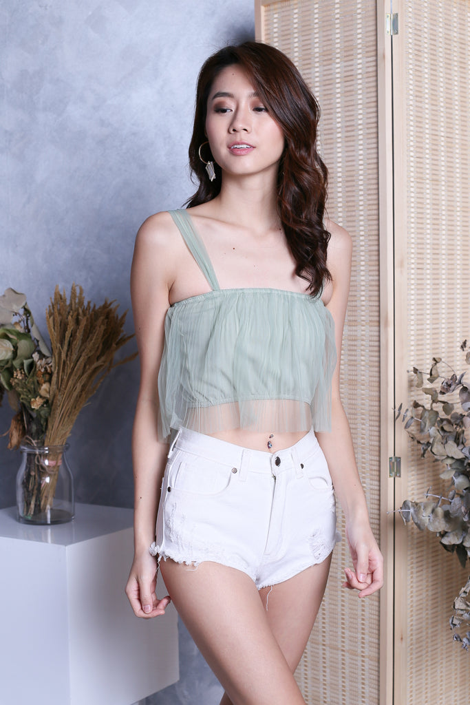 TIA TULLE CROP TOP IN MINTY JADE - TOPAZETTE