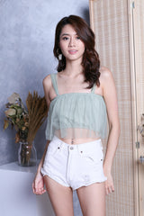 TIA TULLE CROP TOP IN MINTY JADE