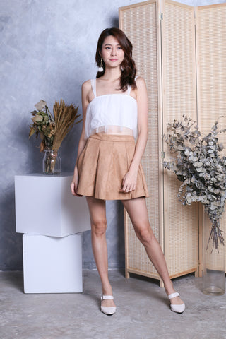WINLY SUEDE PLEATED SKORTS IN CAMEL