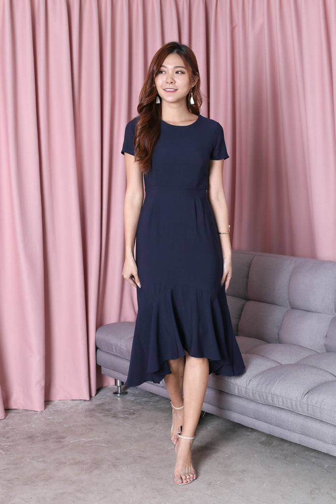 *TPZ* (PREMIUM) BRISA MERMAID RUFFLES DRESS IN NAVY