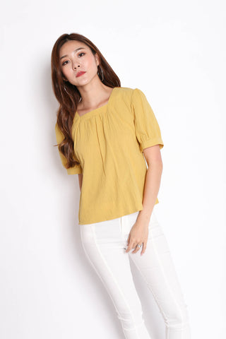 LINEN BASIC RIBBON BACK TOP IN MUSTARD
