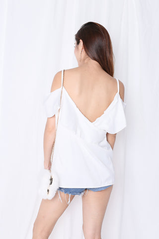 SHAS COLD SHOULDER DRAPE TOP IN WHITE