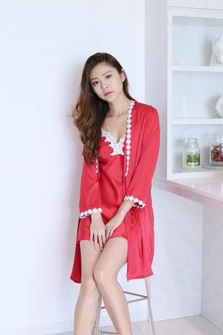 *BACKORDER* SATIN CROCHET NIGHT GOWN + ROBE SET IN HOT PINK