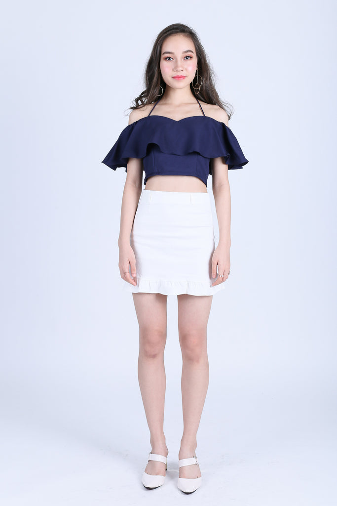 MERRITT MERMAID DENIM SKIRT IN WHITE - TOPAZETTE