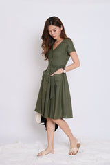 *TPZ* (PREMIUM) URBAN POCKET BUTTON DRESS IN ARMY GREEN