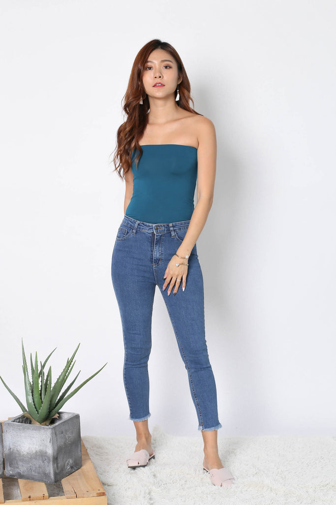 THE VERY BASIC TUBE TOP IN TEAL - TOPAZETTE