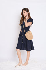 *TPZ* (PREMIUM) URBAN POCKET BUTTON DRESS IN NAVY