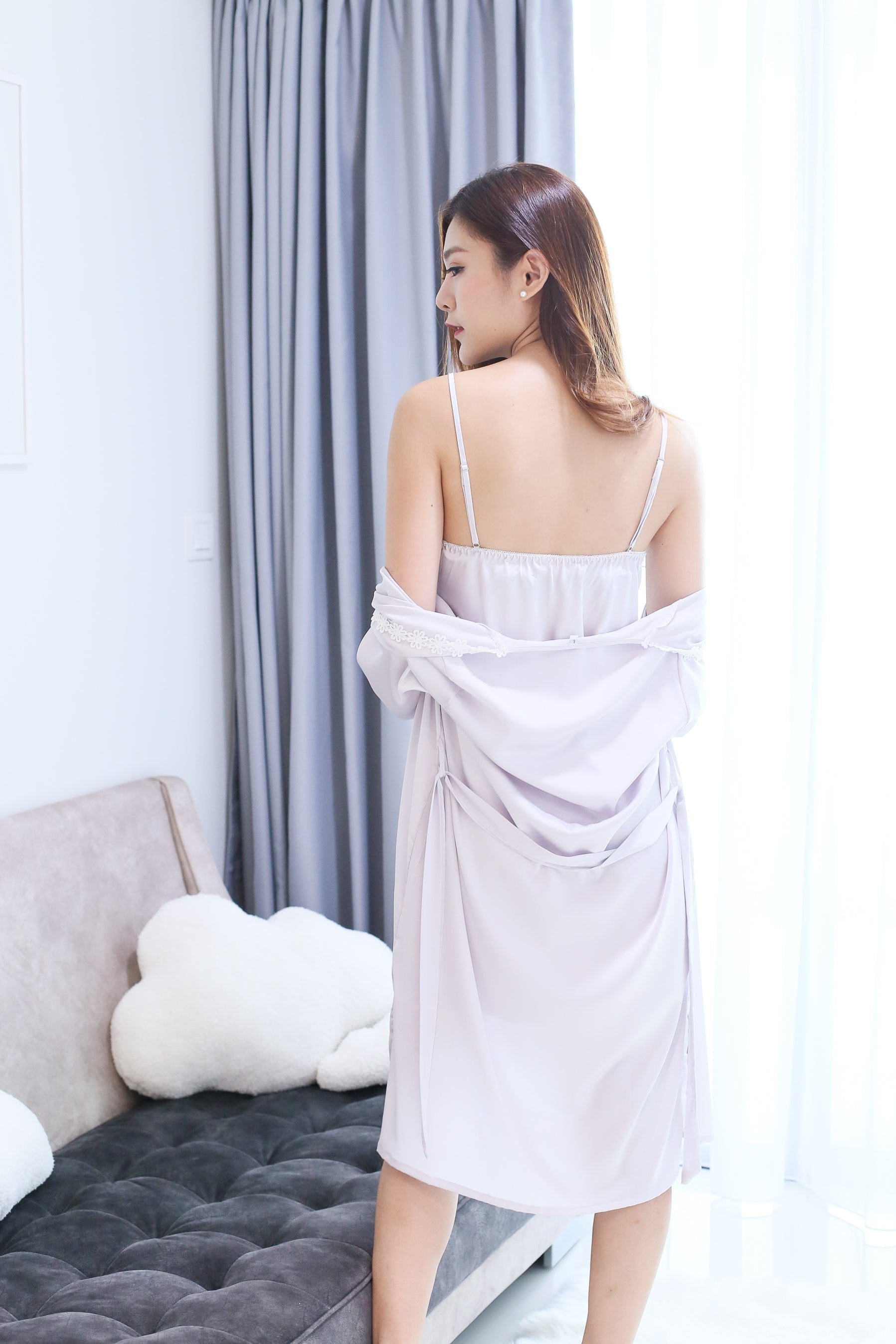 *RESTOCKED* SATIN CROCHET NIGHT GOWN + ROBE SET IN LILAC GREY