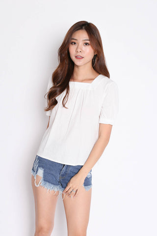 LINEN BASIC RIBBON BACK TOP IN WHITE