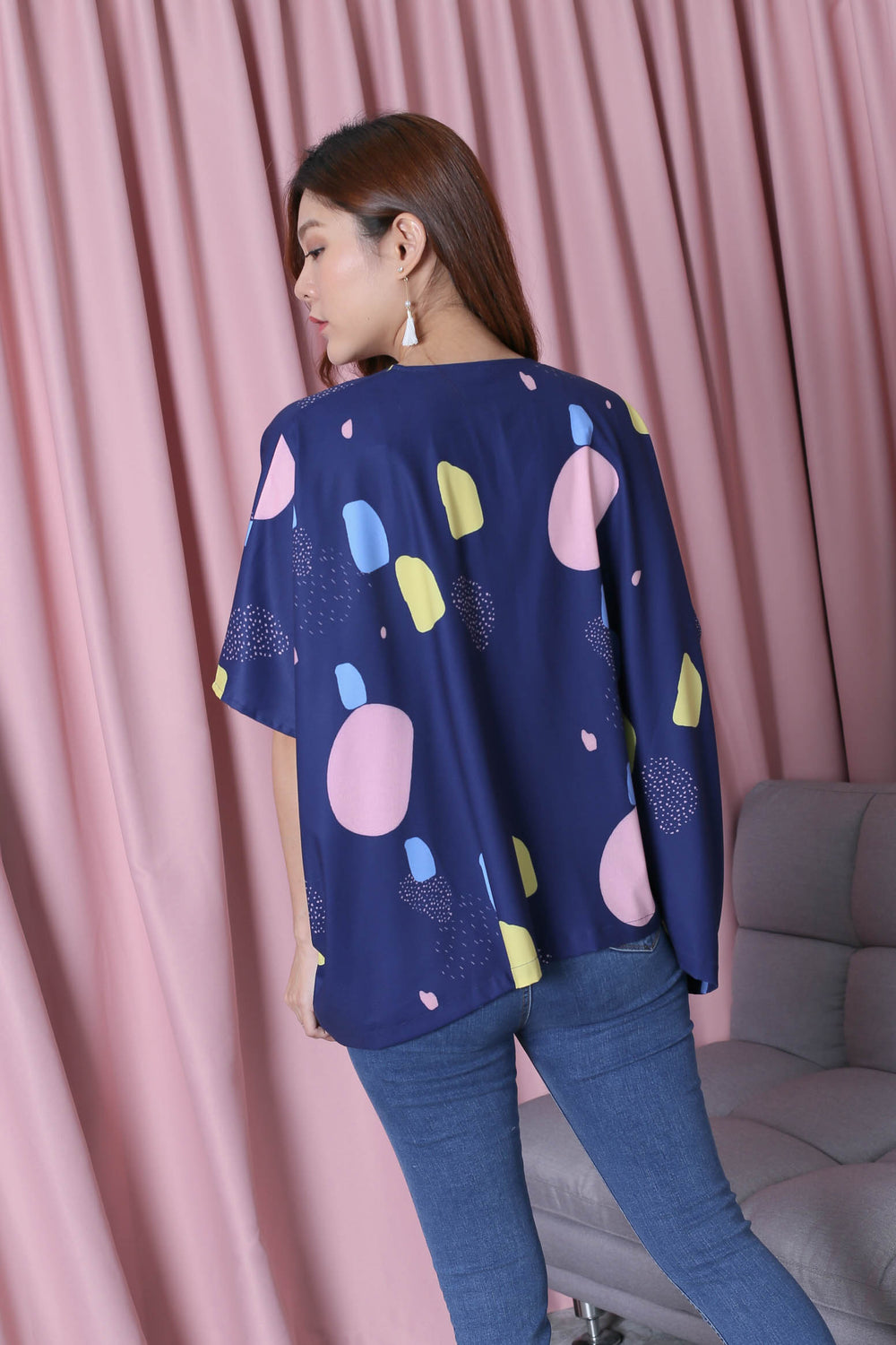 *TPZ* (PREMIUM) RERLY KIMONO ABSTRACT JACKET IN NAVY