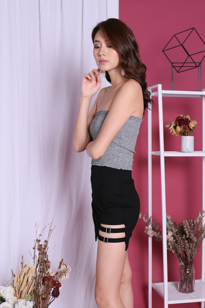 ODESSA SMOCKED TUBE TOP IN ASH GREY - TOPAZETTE