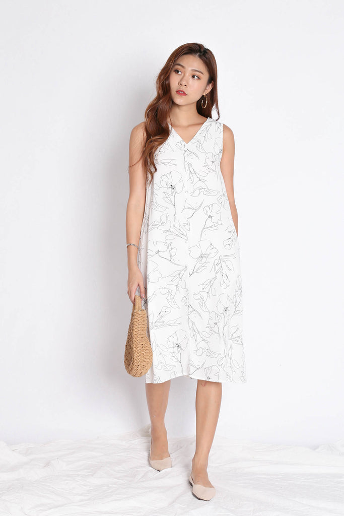 (PREMIUM) SIERRIA ABSTRACT MIDI DRESS IN WHITE - TOPAZETTE
