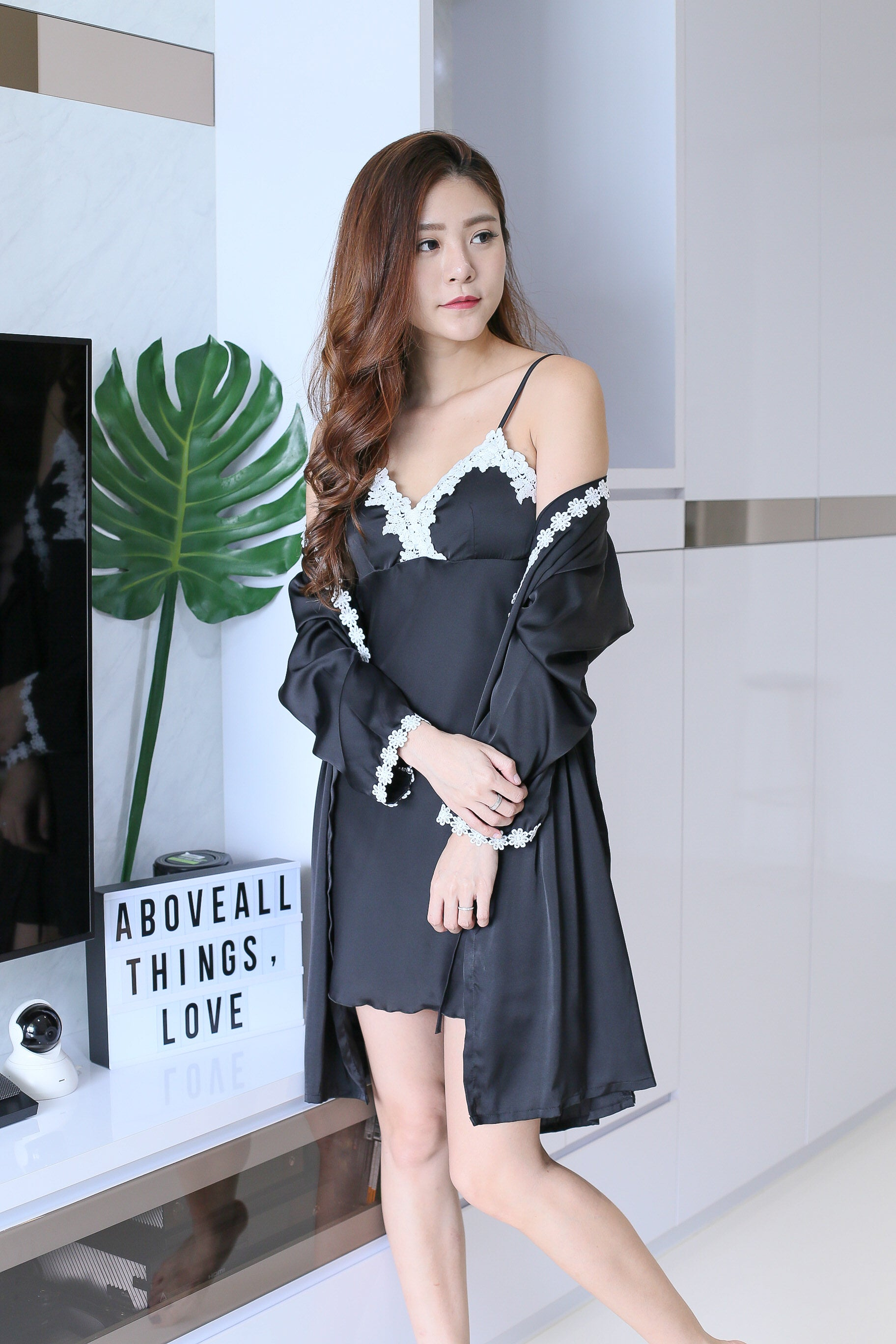 *RESTOCKED* SATIN CROCHET NIGHT GOWN + ROBE SET IN BLACK