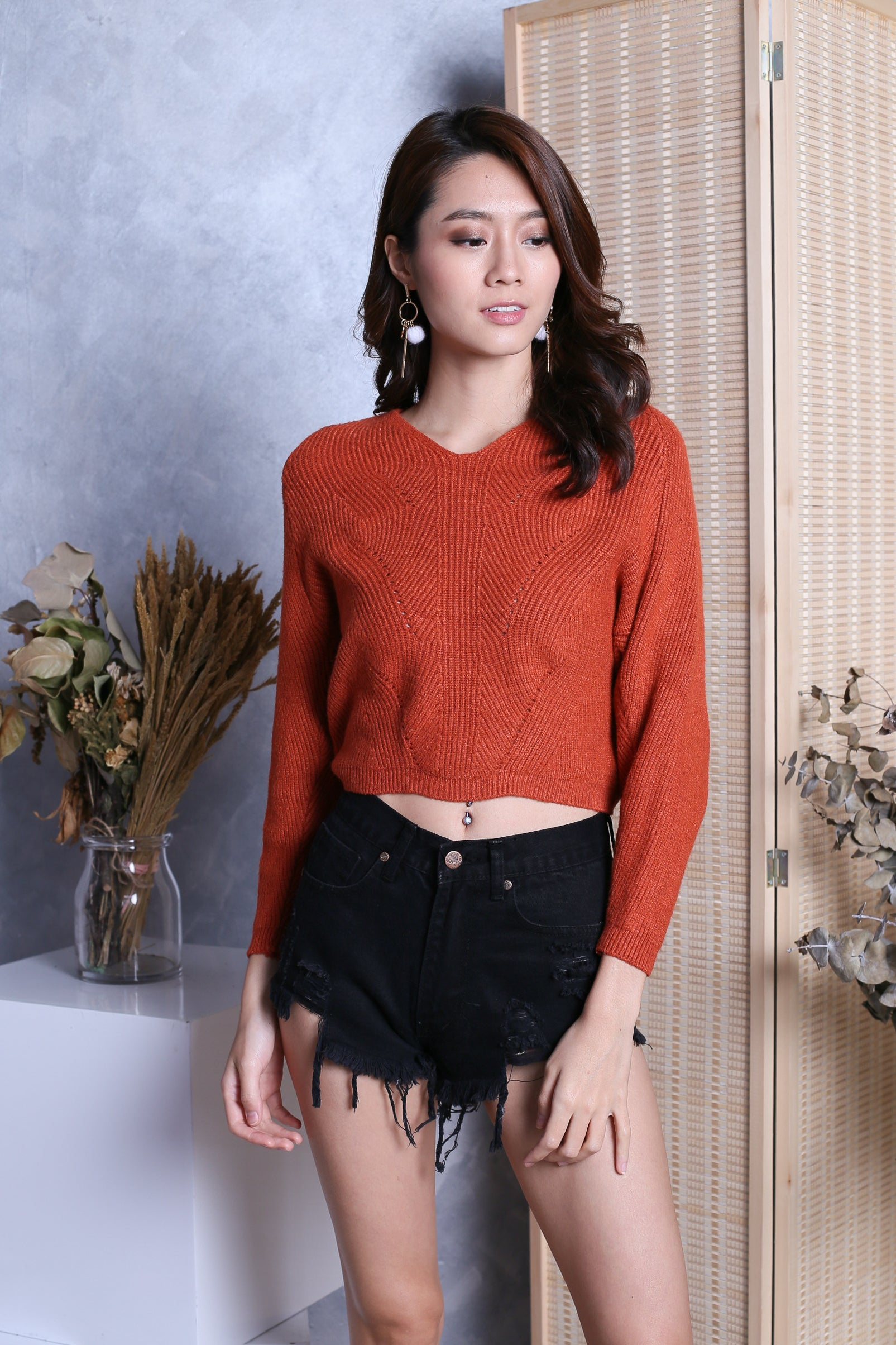KYLIE SOFT KNIT TOP IN TANGERINE