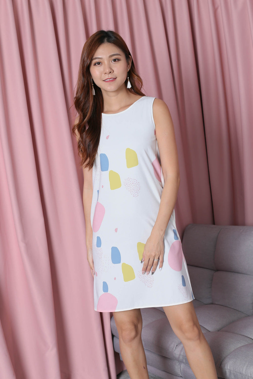 *TPZ* (PREMIUM) PARISA 4 WAYS REVERSIBLE DRESS (WHITE ABSTRACT/ NAVY)