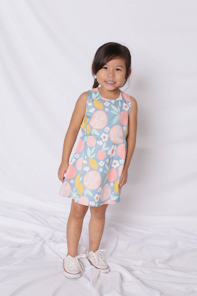 *LITTLE TOPAZETTE* PASTEL GRAPEFRUIT TRAPEZE DRESS IN PINK