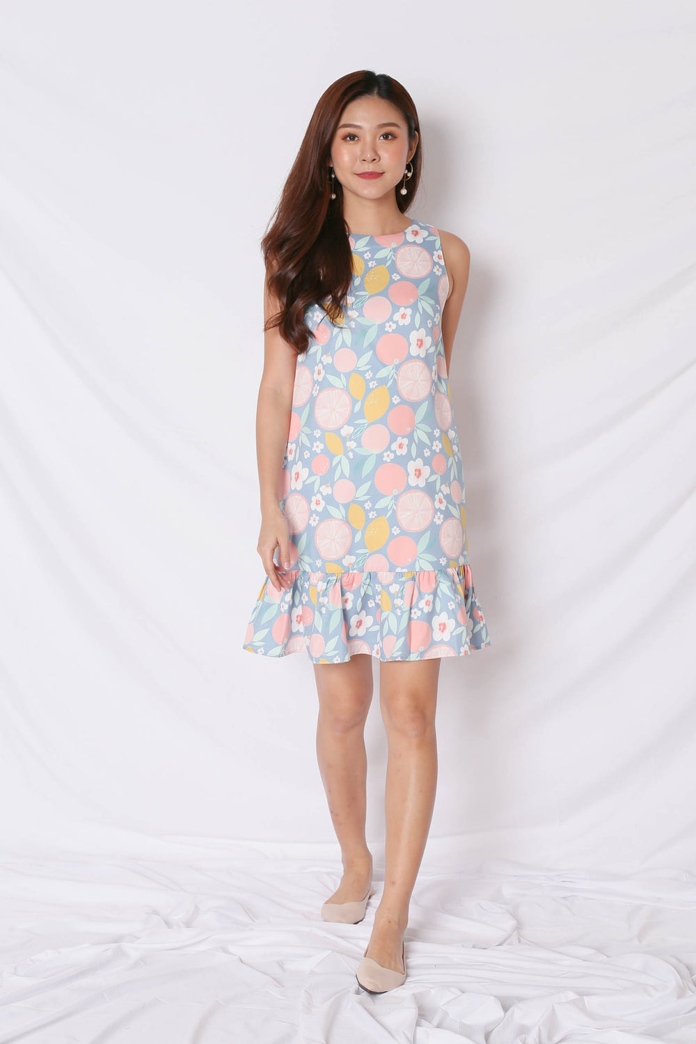 (BACKORDER) *TPZ* (PREMIUM) PASTEL GRAPEFRUIT DROP WAIST DRESS IN PINK