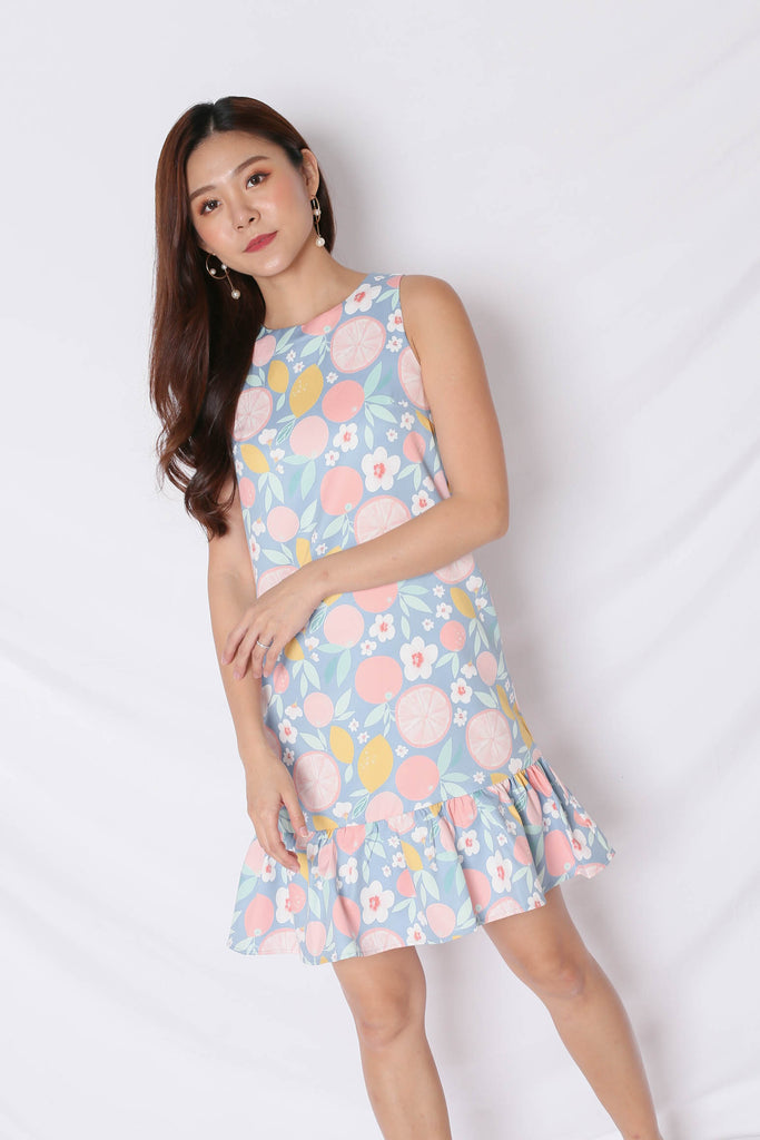 (BACKORDER) *TPZ* (PREMIUM) PASTEL GRAPEFRUIT DROP WAIST DRESS IN PINK - TOPAZETTE