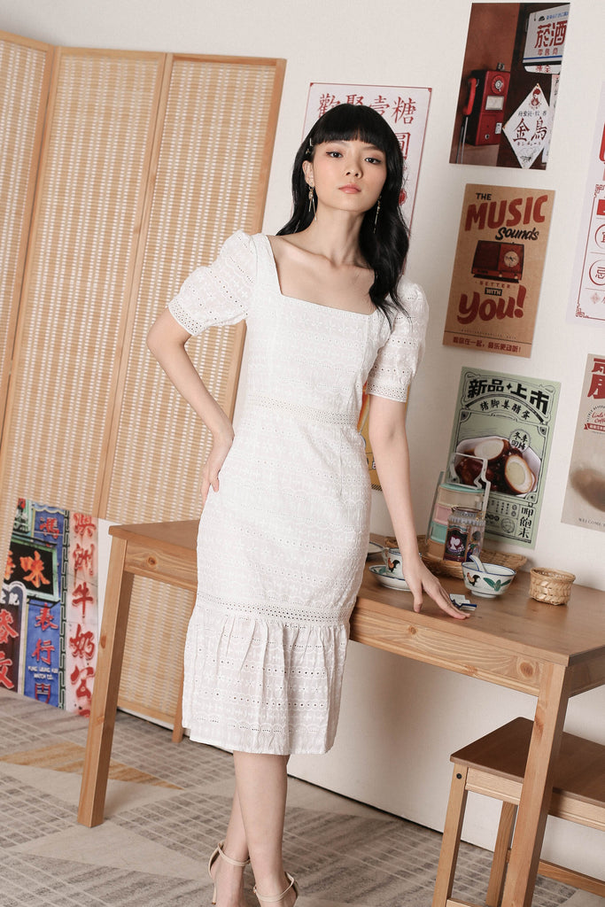 *TPZ* POLLY SQUARE NECK EYELET DRESS IN WHITE