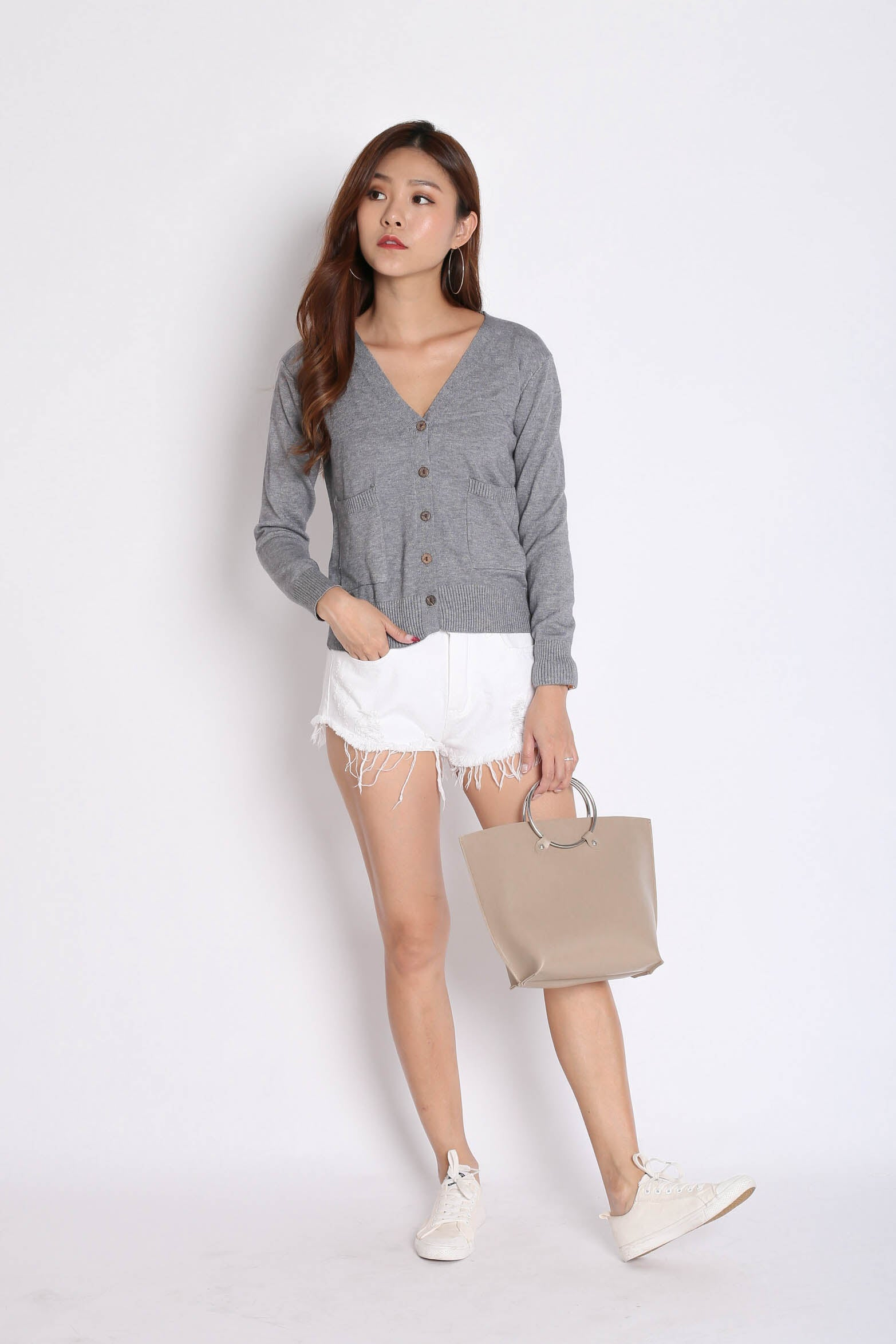DULCE SOFT KNIT CARDIGAN IN GREY