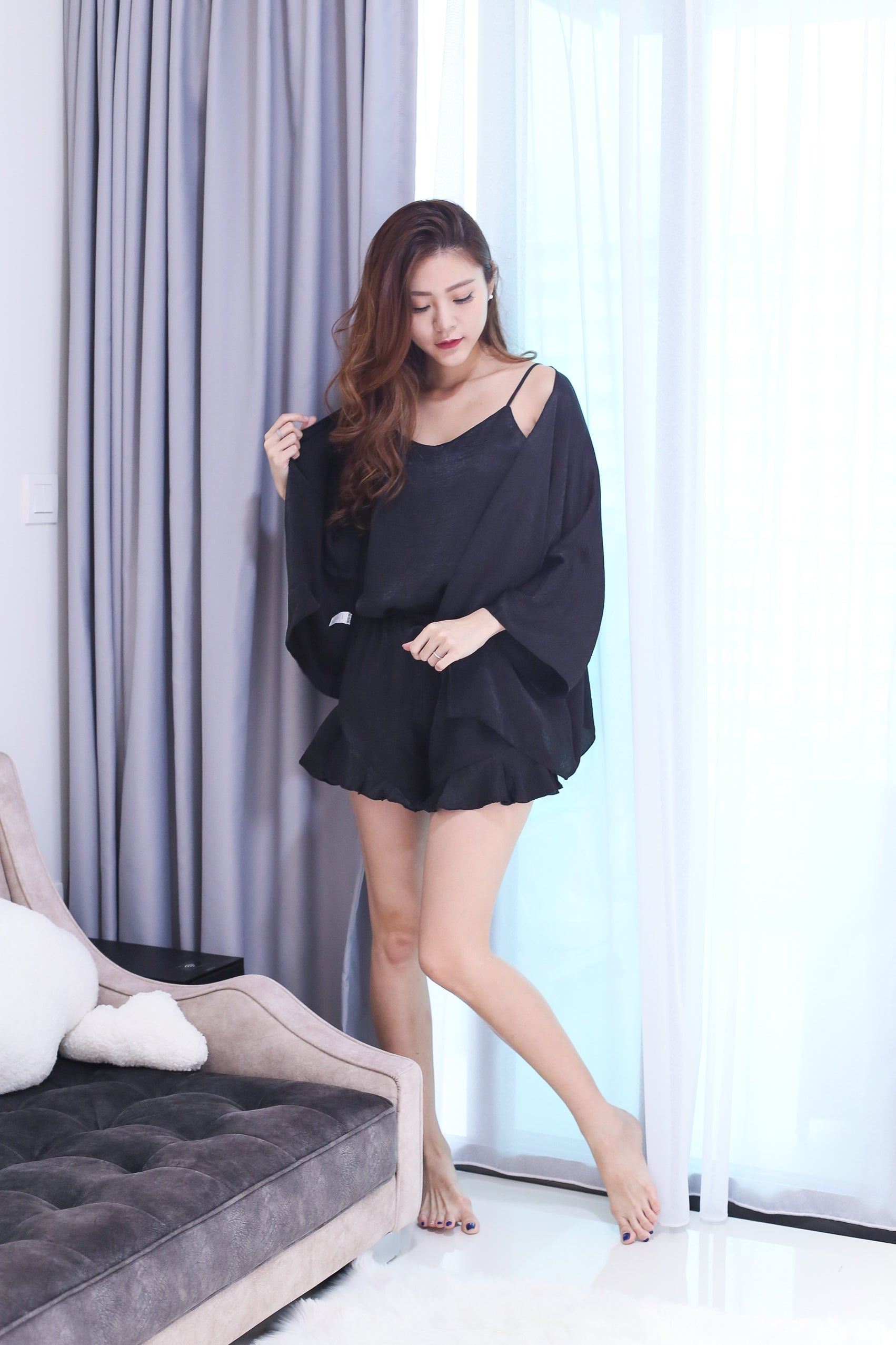 *RESTOCKED* VICTORIA 3 PC SLEEPWEAR SET IN BLACK