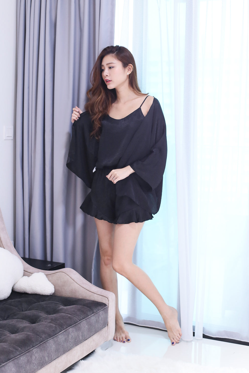VICTORIA 3 PC SLEEPWEAR SET IN BLACK