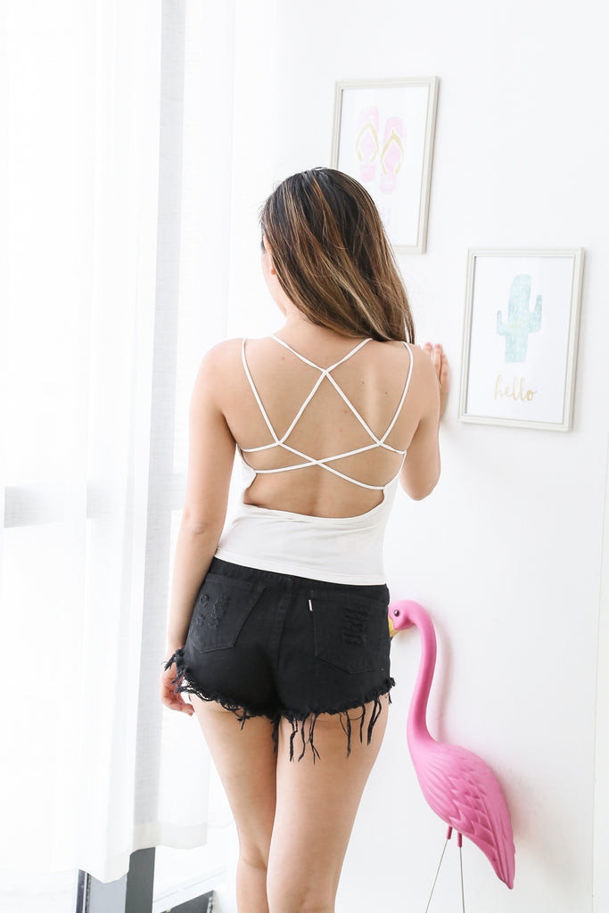 COTTON STRAPPY BRA TOP IN WHITE - TOPAZETTE